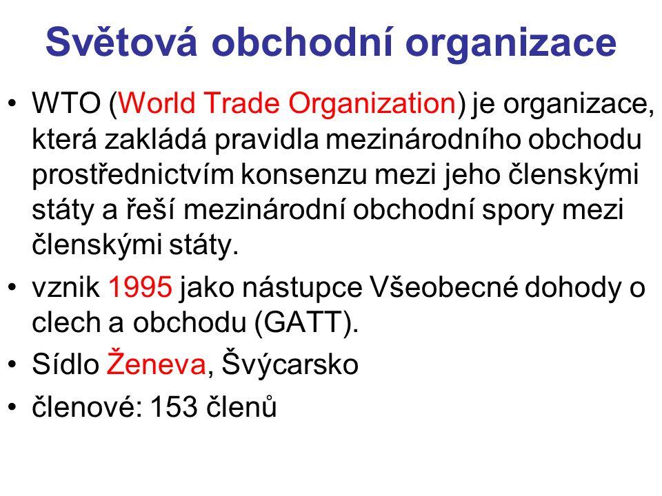 Světová obchodní organizace WTO (World Trade Organization) je organizace, která zakládá pravidla mezinárodního obchodu prostřednictvím konsenzu mezi jeho členskými státy a řeší mezinárodní obchodní spory mezi členskými státy.