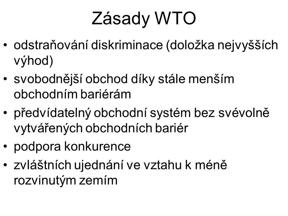 Zásady WTO odstraňování diskriminace (doložka nejvyšších výhod) svobodnější obchod díky stále menším obchodním bariérám předvídatelný obchodní systém bez svévolně vytvářených obchodních bariér podpora konkurence zvláštních ujednání ve vztahu k méně rozvinutým zemím
