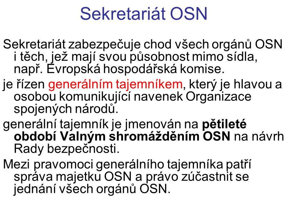 Sekretariát OSN Sekretariát zabezpečuje chod všech orgánů OSN i těch, jež mají svou působnost mimo sídla, např.
