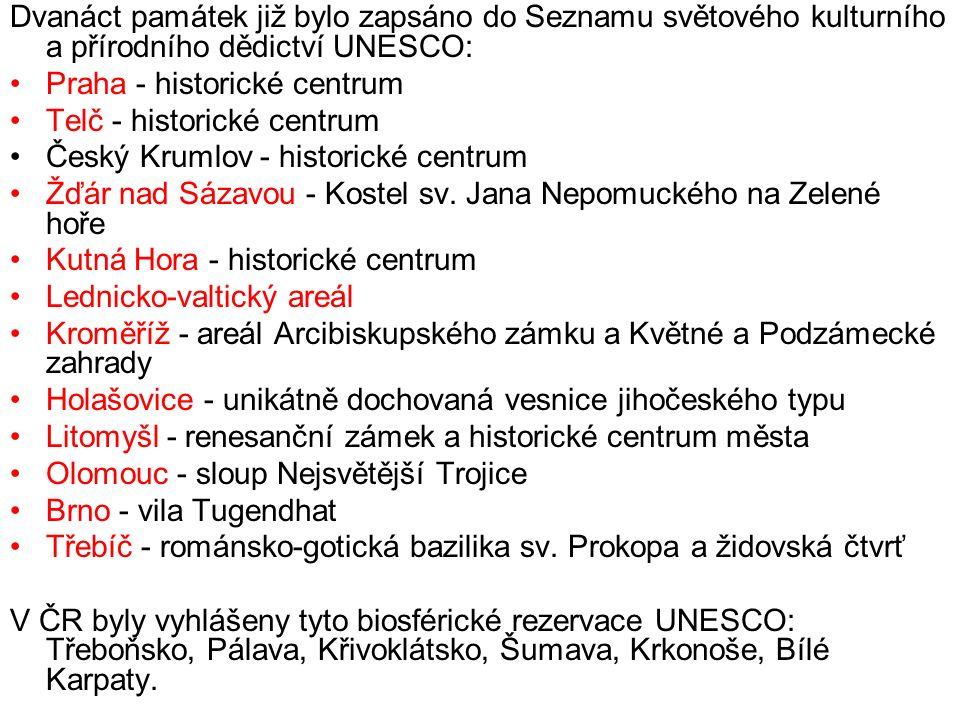 Dvanáct památek již bylo zapsáno do Seznamu světového kulturního a přírodního dědictví UNESCO: Praha - historické centrum Telč - historické centrum Český Krumlov - historické centrum Žďár nad Sázavou - Kostel sv.