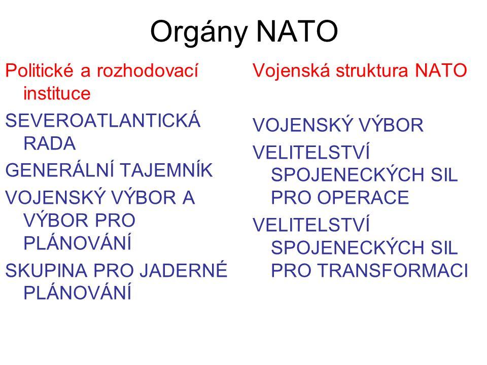 Orgány NATO Politické a rozhodovací instituce SEVEROATLANTICKÁ RADA GENERÁLNÍ TAJEMNÍK VOJENSKÝ VÝBOR A VÝBOR PRO PLÁNOVÁNÍ SKUPINA PRO JADERNÉ PLÁNOVÁNÍ Vojenská struktura NATO VOJENSKÝ VÝBOR VELITELSTVÍ SPOJENECKÝCH SIL PRO OPERACE VELITELSTVÍ SPOJENECKÝCH SIL PRO TRANSFORMACI
