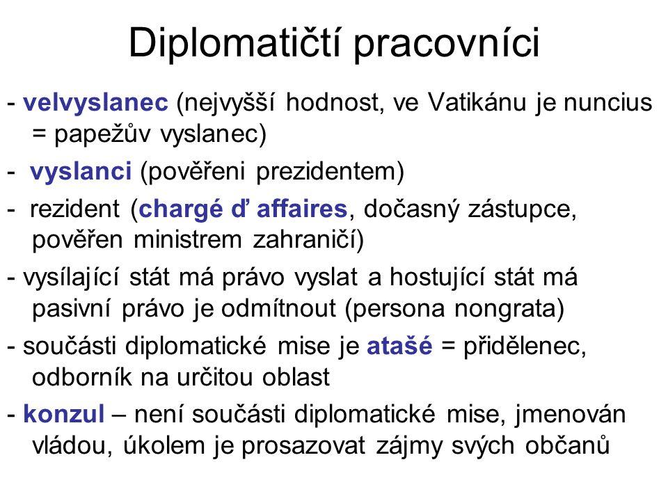 Diplomatičtí pracovníci - velvyslanec (nejvyšší hodnost, ve Vatikánu je nuncius = papežův vyslanec) - vyslanci (pověřeni prezidentem) - rezident (chargé ď affaires, dočasný zástupce, pověřen ministrem zahraničí) - vysílající stát má právo vyslat a hostující stát má pasivní právo je odmítnout (persona nongrata) - součásti diplomatické mise je atašé = přidělenec, odborník na určitou oblast - konzul – není součásti diplomatické mise, jmenován vládou, úkolem je prosazovat zájmy svých občanů