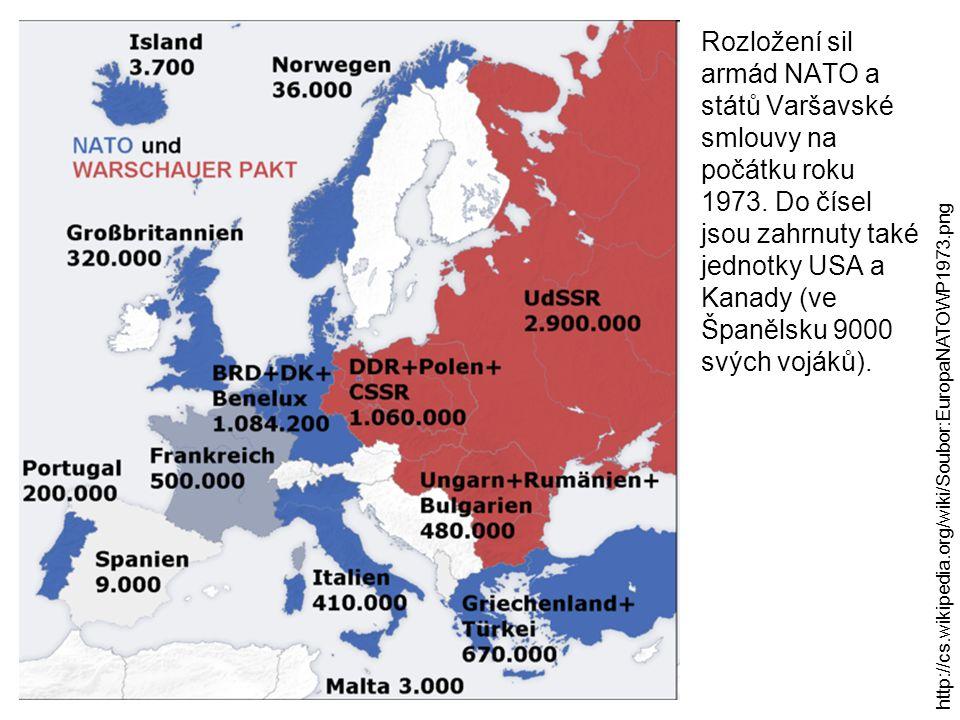 Rozložení sil armád NATO a států Varšavské smlouvy na počátku roku 1973.