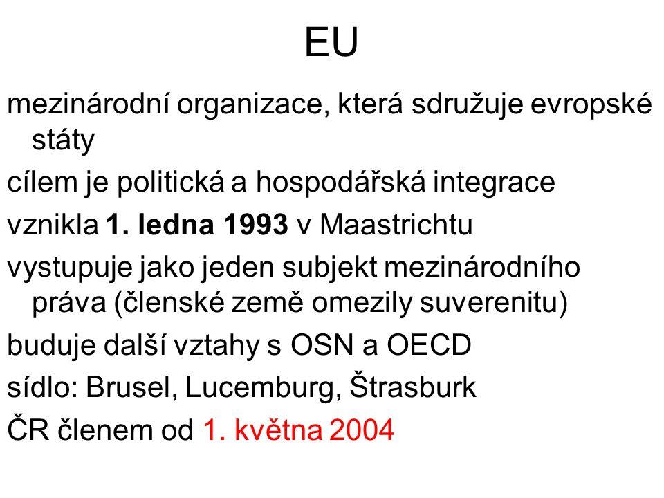 EU mezinárodní organizace, která sdružuje evropské státy cílem je politická a hospodářská integrace vznikla 1.