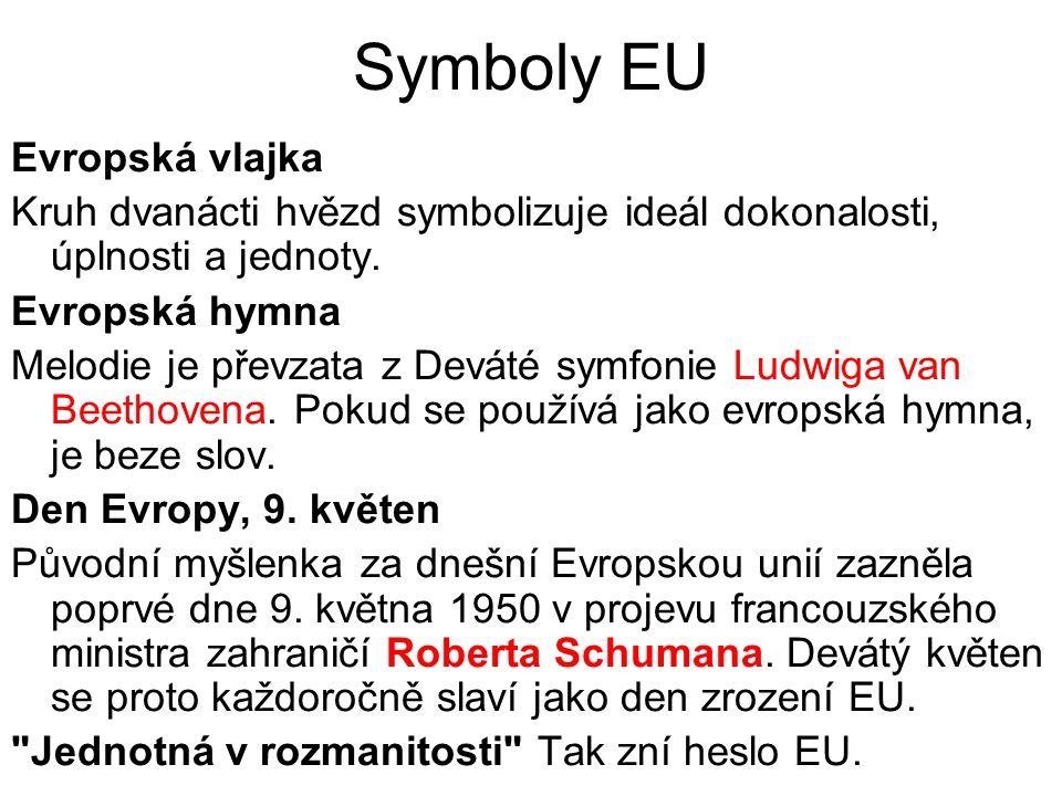 Symboly EU Evropská vlajka Kruh dvanácti hvězd symbolizuje ideál dokonalosti, úplnosti a jednoty.
