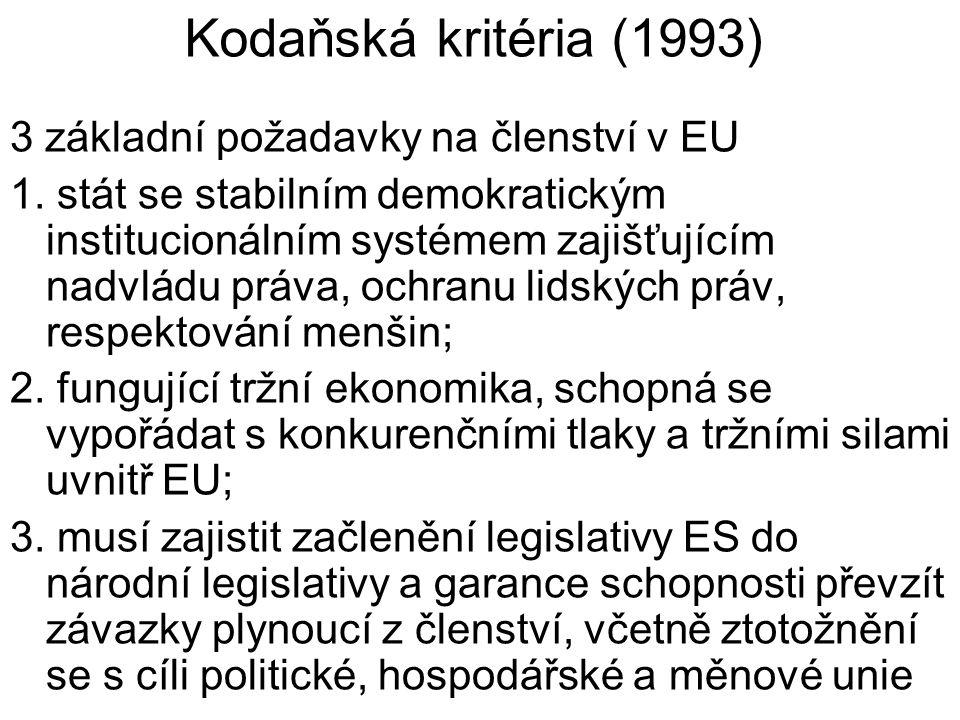 Kodaňská kritéria (1993) 3 základní požadavky na členství v EU 1.