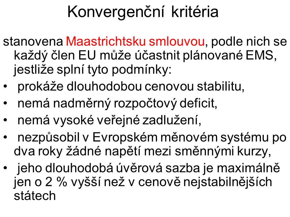 Konvergenční kritéria stanovena Maastrichtsku smlouvou, podle nich se každý člen EU může účastnit plánované EMS, jestliže splní tyto podmínky: prokáže dlouhodobou cenovou stabilitu, nemá nadměrný rozpočtový deficit, nemá vysoké veřejné zadlužení, nezpůsobil v Evropském měnovém systému po dva roky žádné napětí mezi směnnými kurzy, jeho dlouhodobá úvěrová sazba je maximálně jen o 2 % vyšší než v cenově nejstabilnějších státech