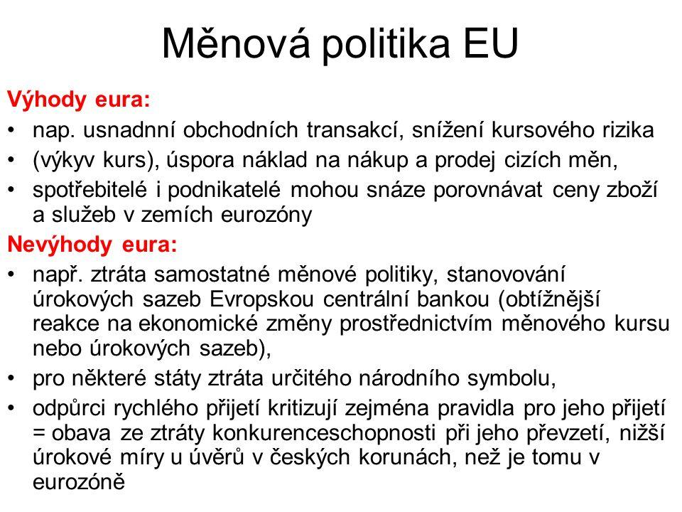 Měnová politika EU Výhody eura: nap.