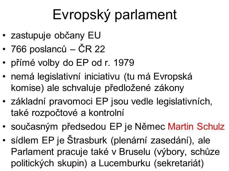 Evropský parlament zastupuje občany EU 766 poslanců – ČR 22 přímé volby do EP od r.