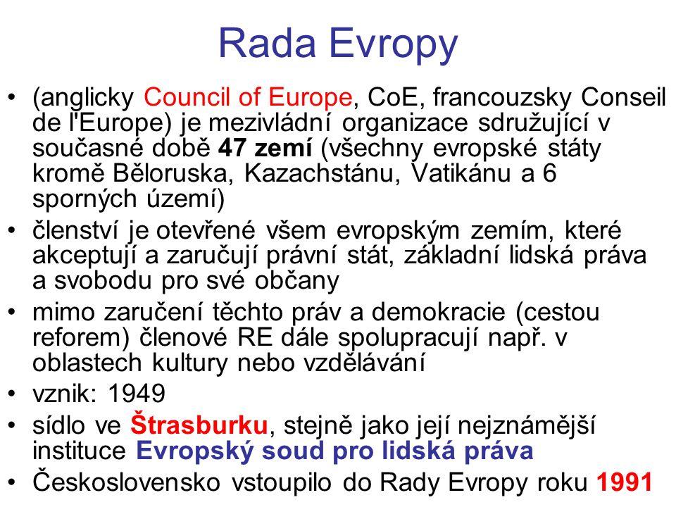 Rada Evropy (anglicky Council of Europe, CoE, francouzsky Conseil de l Europe) je mezivládní organizace sdružující v současné době 47 zemí (všechny evropské státy kromě Běloruska, Kazachstánu, Vatikánu a 6 sporných území) členství je otevřené všem evropským zemím, které akceptují a zaručují právní stát, základní lidská práva a svobodu pro své občany mimo zaručení těchto práv a demokracie (cestou reforem) členové RE dále spolupracují např.