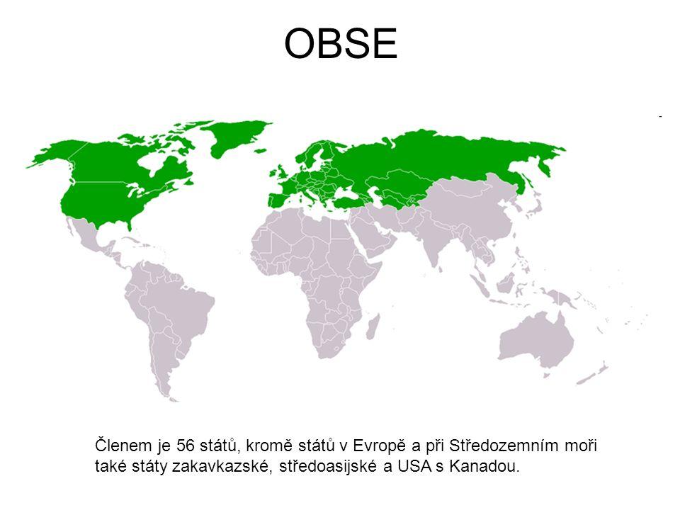 OBSE Členem je 56 států, kromě států v Evropě a při Středozemním moři také státy zakavkazské, středoasijské a USA s Kanadou.