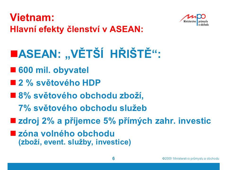""" 2009  Ministerstvo průmyslu a obchodu 6 Vietnam: Hlavní efekty členství v ASEAN: ASEAN: """"VĚTŠÍ HŘIŠTĚ : 600 mil."""