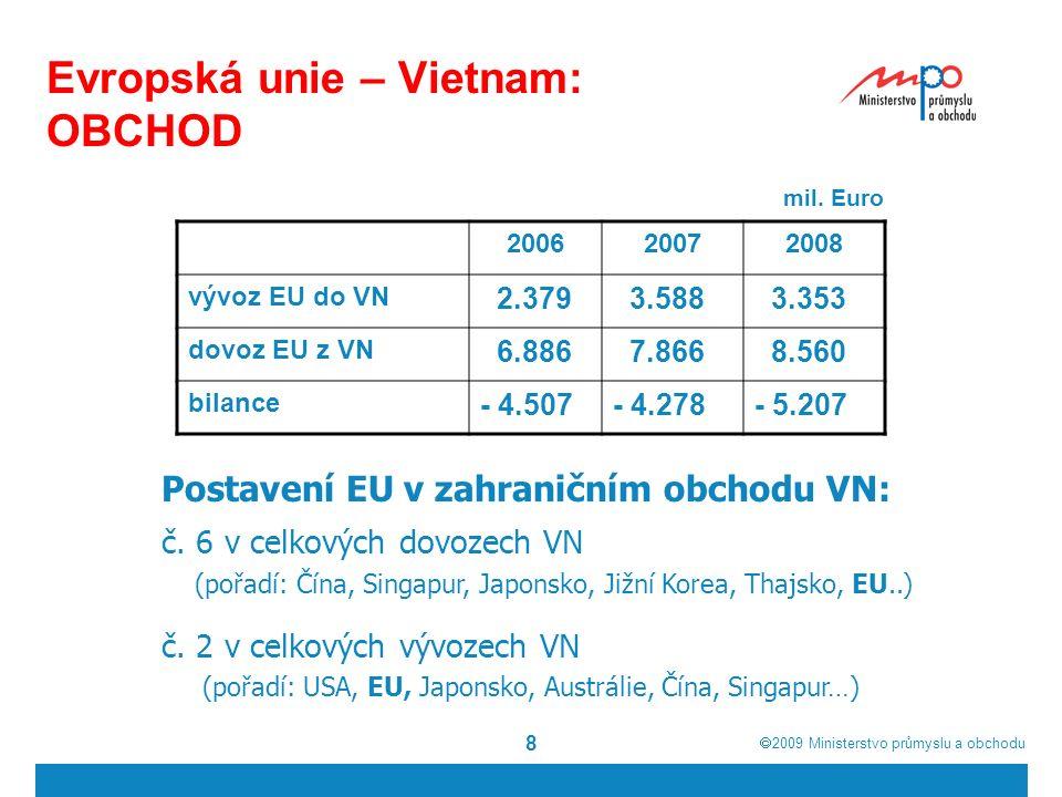  2009  Ministerstvo průmyslu a obchodu 8 Evropská unie – Vietnam: OBCHOD mil.