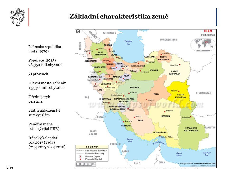 Základní charakteristika země 2/19 Islámská republika (od r.
