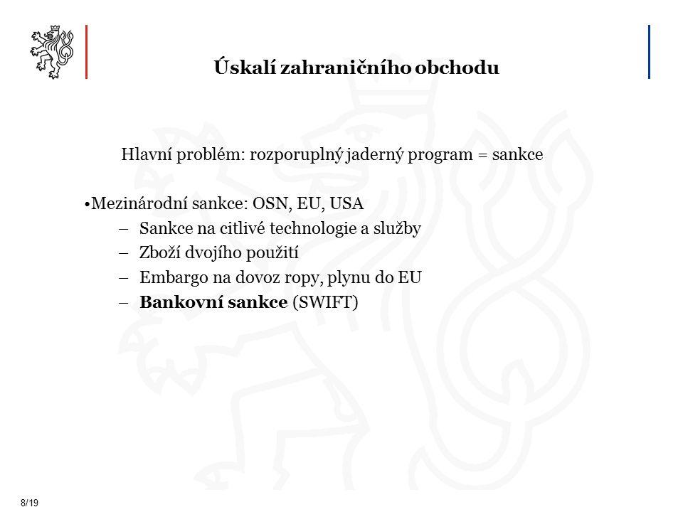Úskalí zahraničního obchodu 8/19 Hlavní problém: rozporuplný jaderný program = sankce Mezinárodní sankce: OSN, EU, USA –Sankce na citlivé technologie a služby –Zboží dvojího použití –Embargo na dovoz ropy, plynu do EU –Bankovní sankce (SWIFT)