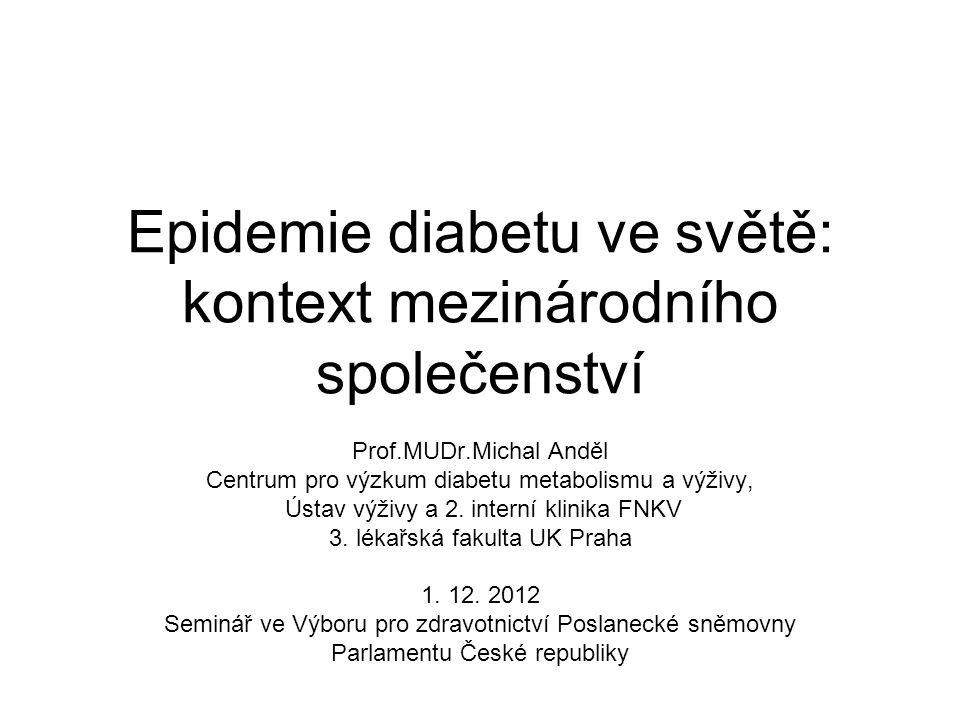 Epidemie diabetu ve světě: kontext mezinárodního společenství Prof.MUDr.Michal Anděl Centrum pro výzkum diabetu metabolismu a výživy, Ústav výživy a 2