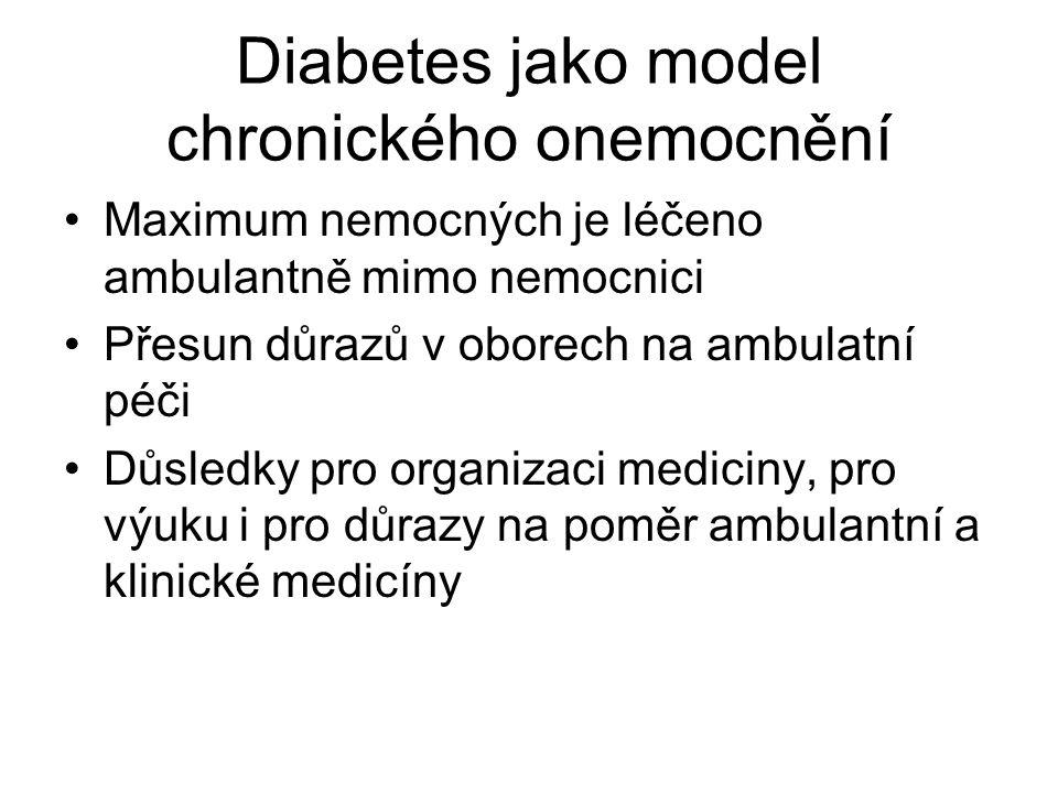 Diabetes jako model chronického onemocnění Maximum nemocných je léčeno ambulantně mimo nemocnici Přesun důrazů v oborech na ambulatní péči Důsledky pro organizaci mediciny, pro výuku i pro důrazy na poměr ambulantní a klinické medicíny