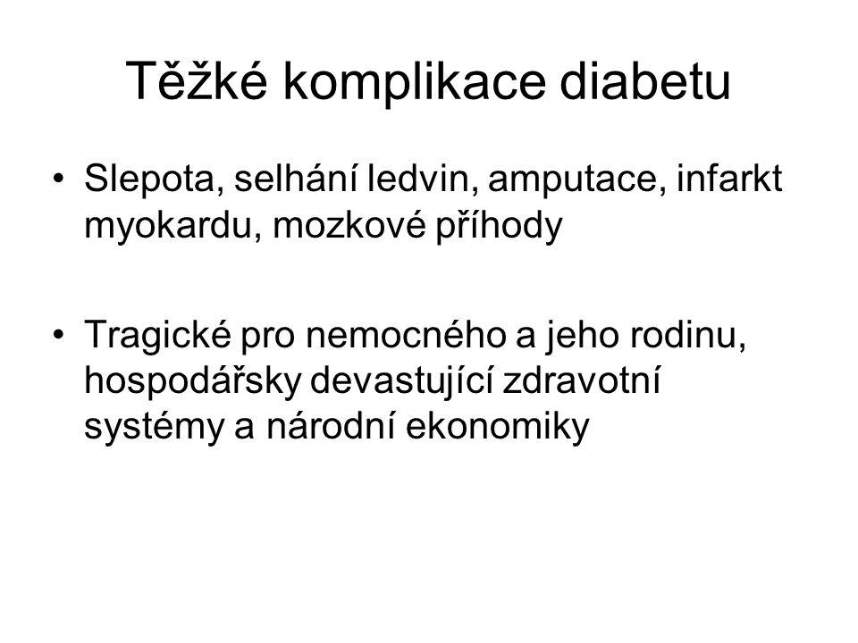 Těžké komplikace diabetu Slepota, selhání ledvin, amputace, infarkt myokardu, mozkové příhody Tragické pro nemocného a jeho rodinu, hospodářsky devast