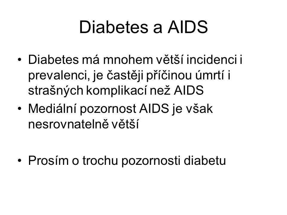 Diabetes a AIDS Diabetes má mnohem větší incidenci i prevalenci, je častěji příčinou úmrtí i strašných komplikací než AIDS Mediální pozornost AIDS je však nesrovnatelně větší Prosím o trochu pozornosti diabetu
