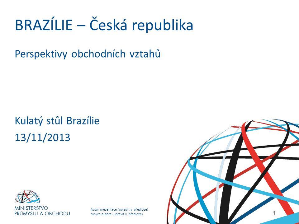 Autor prezentace (upravit v předloze) funkce autora (upravit v předloze) NADPIS PREZENTACE (upravit v předloze) BRAZÍLIE – Česká republika Perspektivy obchodních vztahů Kulatý stůl Brazílie 13/11/2013 1