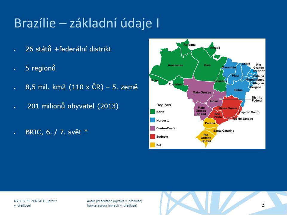Autor prezentace (upravit v předloze) funkce autora (upravit v předloze) NADPIS PREZENTACE (upravit v předloze) 3 Brazílie – základní údaje I  26 států +federální distrikt  5 regionů  8,5 mil.