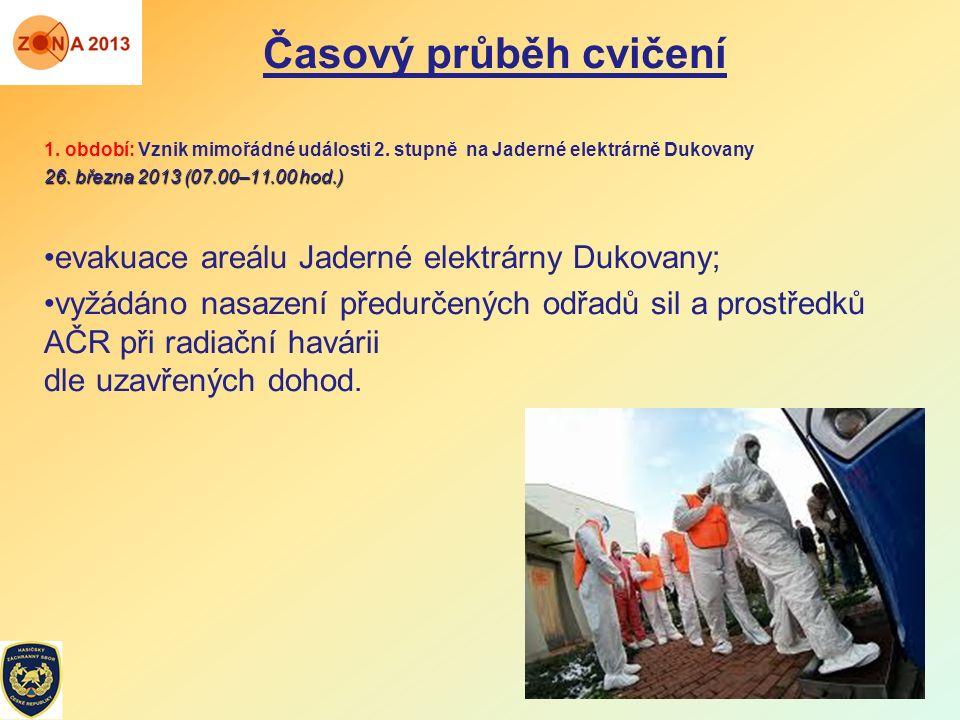 1. období: Vznik mimořádné události 2. stupně na Jaderné elektrárně Dukovany 26. března 2013 (07.00–11.00 hod.) evakuace areálu Jaderné elektrárny Duk