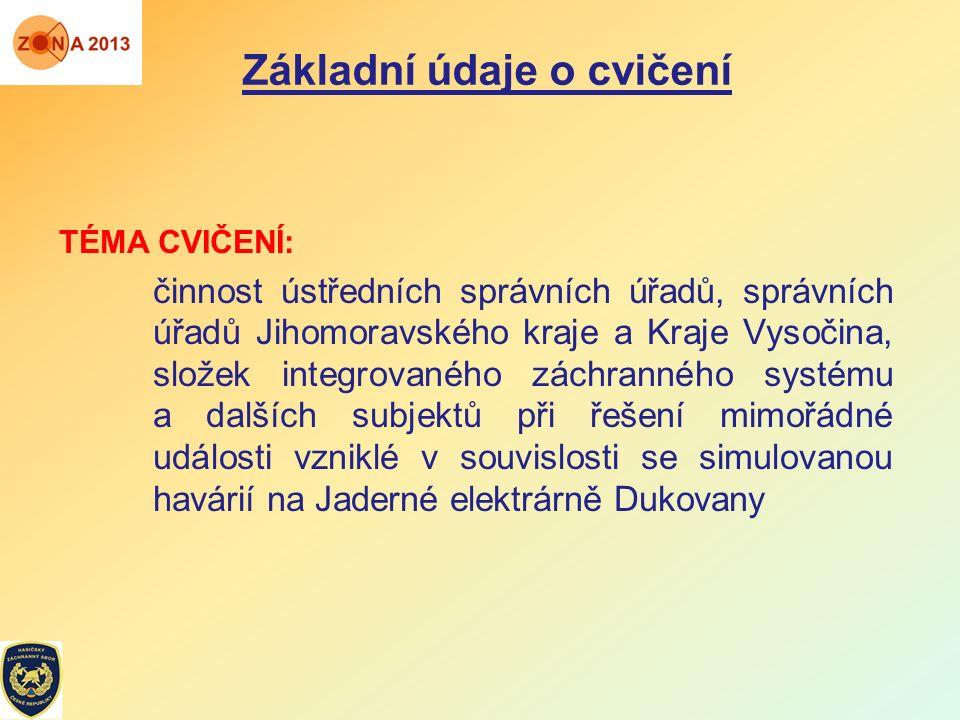 Základní údaje o cvičení TÉMA CVIČENÍ: činnost ústředních správních úřadů, správních úřadů Jihomoravského kraje a Kraje Vysočina, složek integrovaného