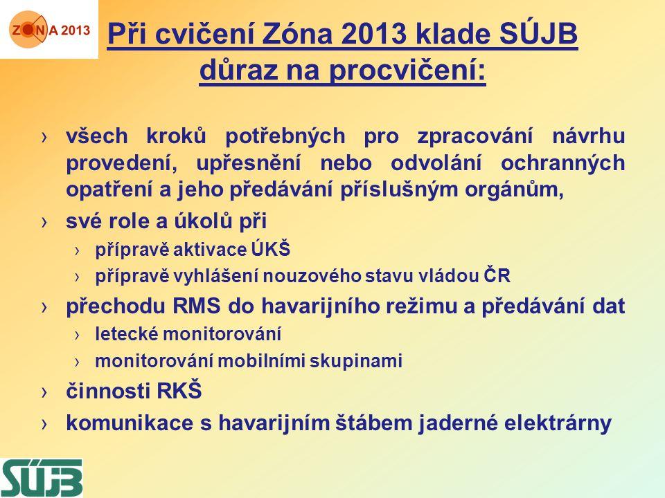 Při cvičení Zóna 2013 klade SÚJB důraz na procvičení: ›všech kroků potřebných pro zpracování návrhu provedení, upřesnění nebo odvolání ochranných opat