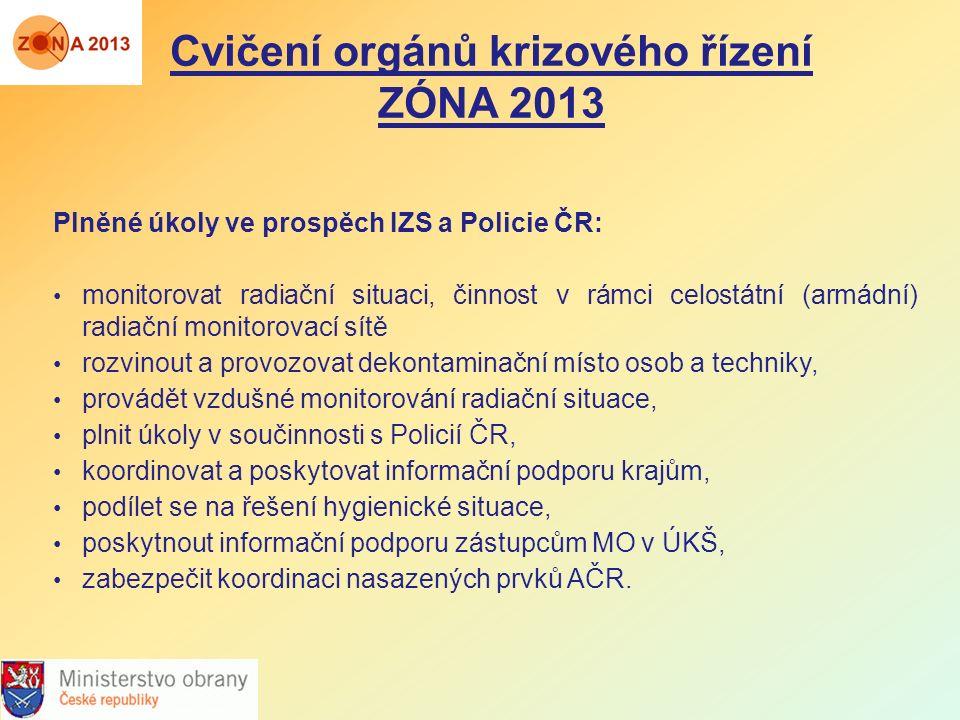 Cvičení orgánů krizového řízení ZÓNA 2013 Plněné úkoly ve prospěch IZS a Policie ČR: monitorovat radiační situaci, činnost v rámci celostátní (armádní