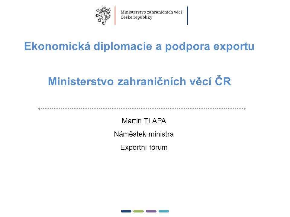1  Ekonomická diplomacie a podpora exportu Ministerstvo zahraničních věcí ČR Martin TLAPA Náměstek ministra Exportní fórum