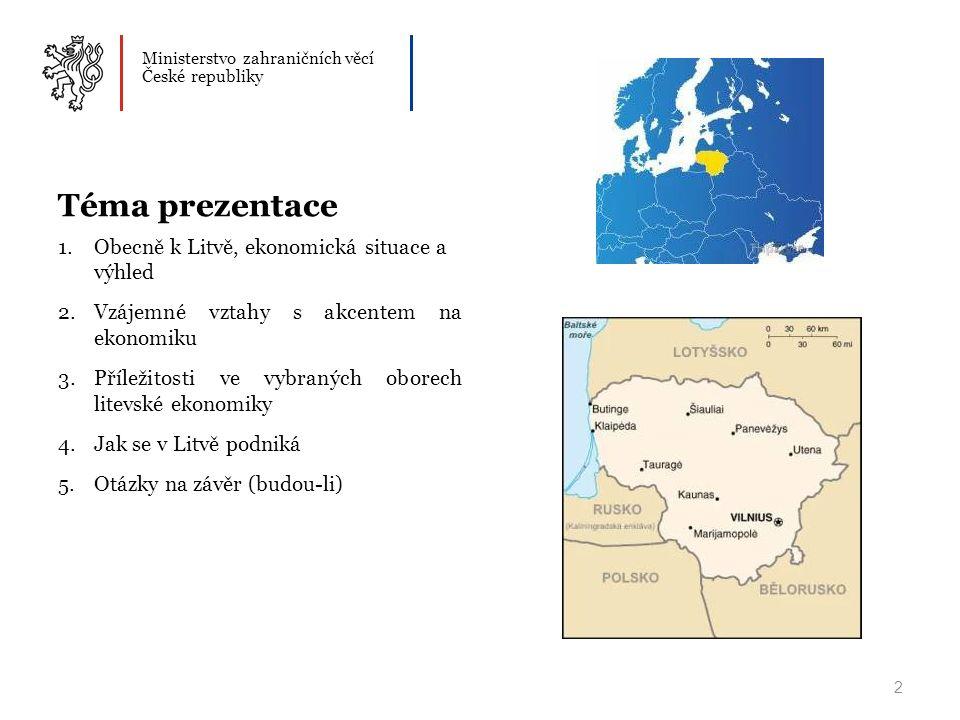 Ministerstvo zahraničních věcí České republiky Téma prezentace 1.Obecně k Litvě, ekonomická situace a výhled 2.Vzájemné vztahy s akcentem na ekonomiku 3.Příležitosti ve vybraných oborech litevské ekonomiky 4.Jak se v Litvě podniká 5.Otázky na závěr (budou-li) 2