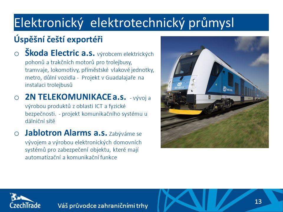13 Váš průvodce zahraničními trhy Elektronický elektrotechnický průmysl Úspěšní čeští exportéři o Škoda Electric a.s. výrobcem elektrických pohonů a t