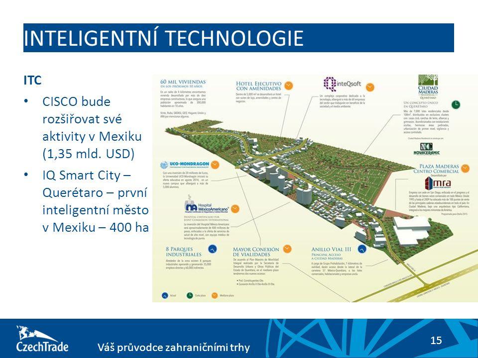 15 Váš průvodce zahraničními trhy INTELIGENTNÍ TECHNOLOGIE ITC CISCO bude rozšiřovat své aktivity v Mexiku (1,35 mld. USD) IQ Smart City – Querétaro –