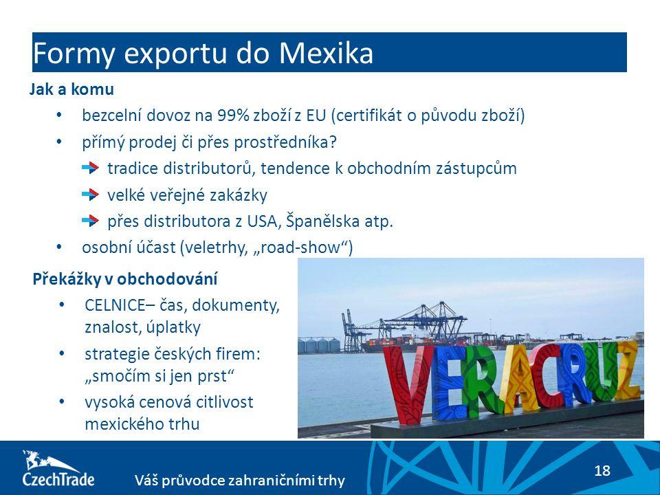 18 Váš průvodce zahraničními trhy Formy exportu do Mexika Jak a komu bezcelní dovoz na 99% zboží z EU (certifikát o původu zboží) přímý prodej či přes prostředníka.