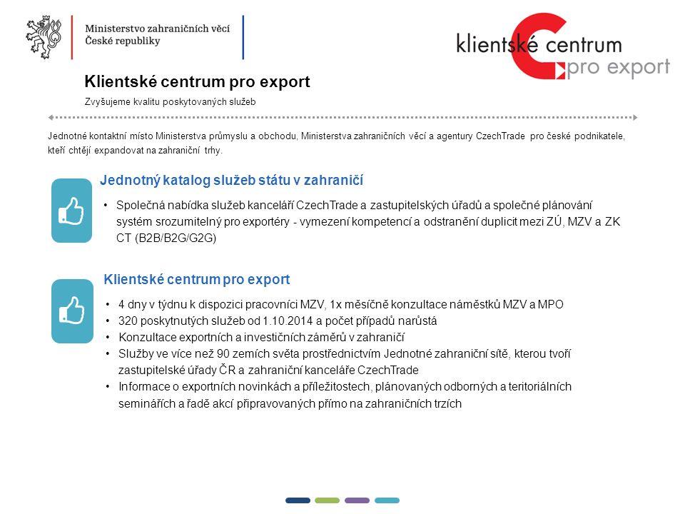 17  Klientské centrum pro export Zvyšujeme kvalitu poskytovaných služeb Jednotné kontaktní místo Ministerstva průmyslu a obchodu, Ministerstva zahraničních věcí a agentury CzechTrade pro české podnikatele, kteří chtějí expandovat na zahraniční trhy.