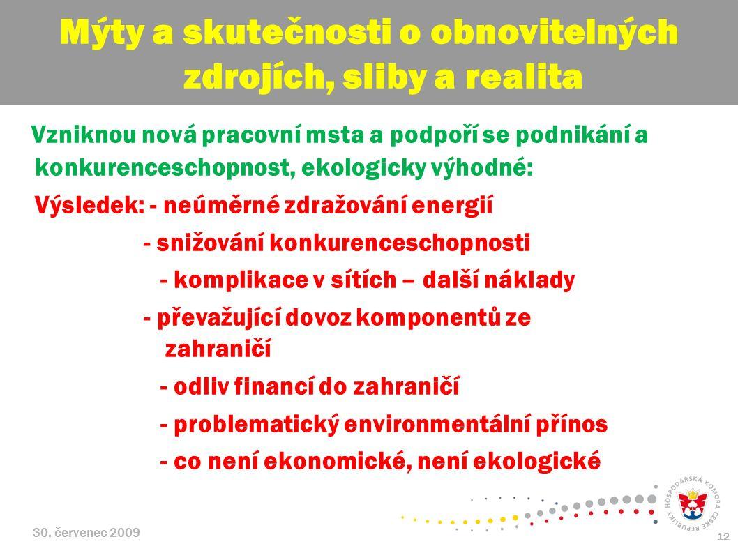 30. červenec 2009 12 Vzniknou nová pracovní msta a podpoří se podnikání a konkurenceschopnost, ekologicky výhodné: Výsledek: - neúměrné zdražování ene