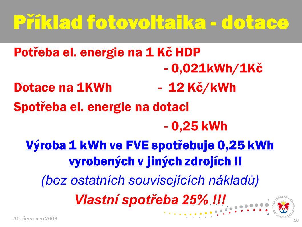 30. červenec 2009 16 Potřeba el. energie na 1 Kč HDP - 0,021kWh/1Kč Dotace na 1KWh - 12 Kč/kWh Spotřeba el. energie na dotaci - 0,25 kWh Výroba 1 kWh