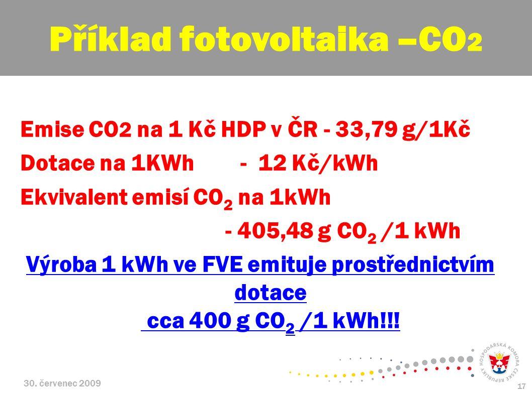 30. červenec 2009 17 Emise CO 2 na 1 Kč HDP v ČR - 33,79 g/1Kč Dotace na 1KWh - 12 Kč/kWh Ekvivalent emisí CO 2 na 1kWh - 405,48 g CO 2 /1 kWh Výroba