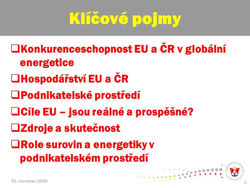 30. červenec 2009 2  Konkurenceschopnost EU a ČR v globální energetice  Hospodářství EU a ČR  Podnikatelské prostředí  Cíle EU – jsou reálné a pro