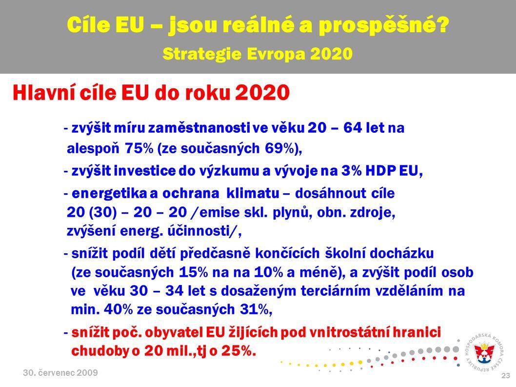 30. červenec 2009 23 Hlavní cíle EU do roku 2020 - zvýšit míru zaměstnanosti ve věku 20 – 64 let na alespoň 75% (ze současných 69%), - zvýšit investic