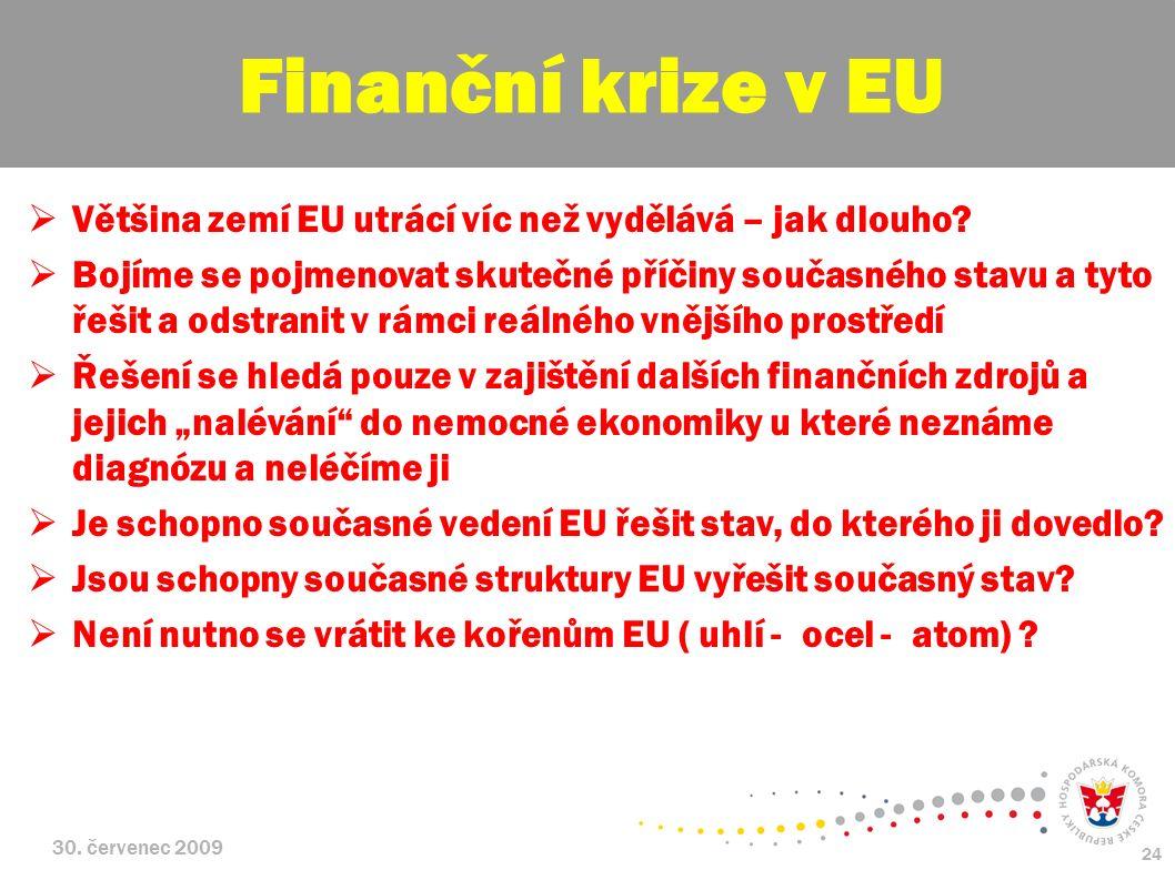30. červenec 2009 24  Většina zemí EU utrácí víc než vydělává – jak dlouho?  Bojíme se pojmenovat skutečné příčiny současného stavu a tyto řešit a o