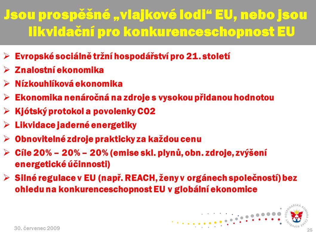 30. červenec 2009 25  Evropské sociálně tržní hospodářství pro 21. století  Znalostní ekonomika  Nízkouhlíková ekonomika  Ekonomika nenáročná na z
