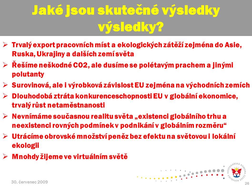 30. červenec 2009 26  Trvalý export pracovních míst a ekologických zátěží zejména do Asie, Ruska, Ukrajiny a dalších zemí světa  Řešíme neškodné CO2