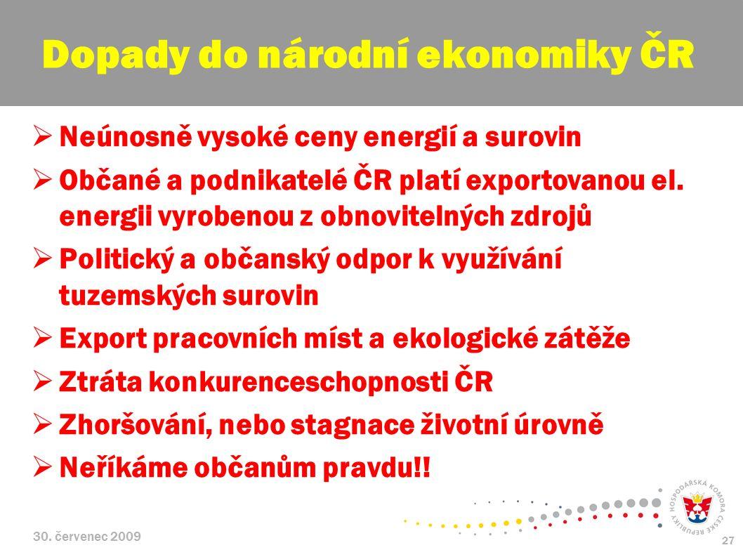 30. červenec 2009 27  Neúnosně vysoké ceny energií a surovin  Občané a podnikatelé ČR platí exportovanou el. energii vyrobenou z obnovitelných zdroj