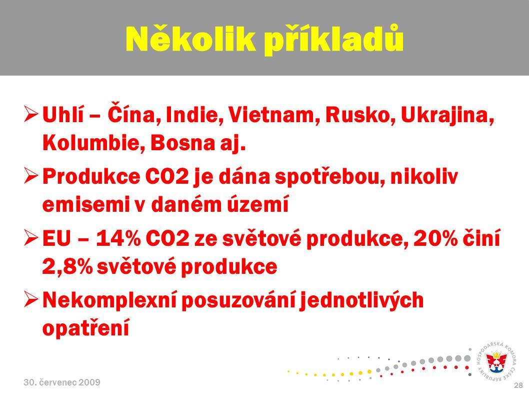 30. červenec 2009 28  Uhlí – Čína, Indie, Vietnam, Rusko, Ukrajina, Kolumbie, Bosna aj.  Produkce CO2 je dána spotřebou, nikoliv emisemi v daném úze