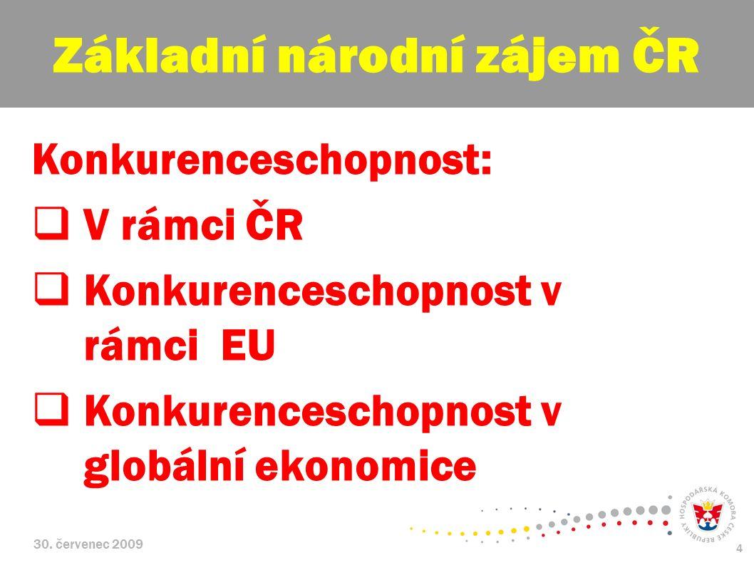 30. červenec 2009 4 Konkurenceschopnost:  V rámci ČR  Konkurenceschopnost v rámci EU  Konkurenceschopnost v globální ekonomice Základní národní záj