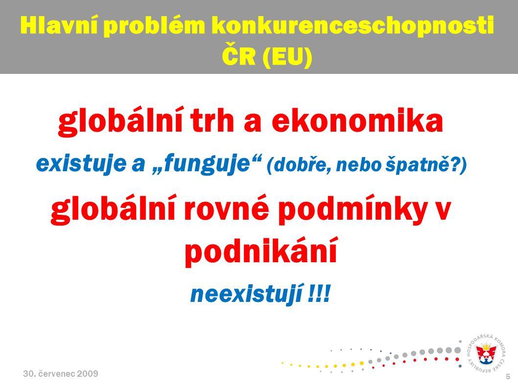 """30. červenec 2009 5 globální trh a ekonomika existuje a """"funguje"""" (dobře, nebo špatně?) globální rovné podmínky v podnikání neexistují !!! Hlavní prob"""