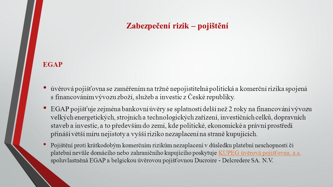 Zabezpečení rizik – pojištění EGAP úvěrová pojišťovna se zaměřením na tržně nepojistitelná politická a komerční rizika spojená s financováním vývozu zboží, služeb a investic z České republiky.