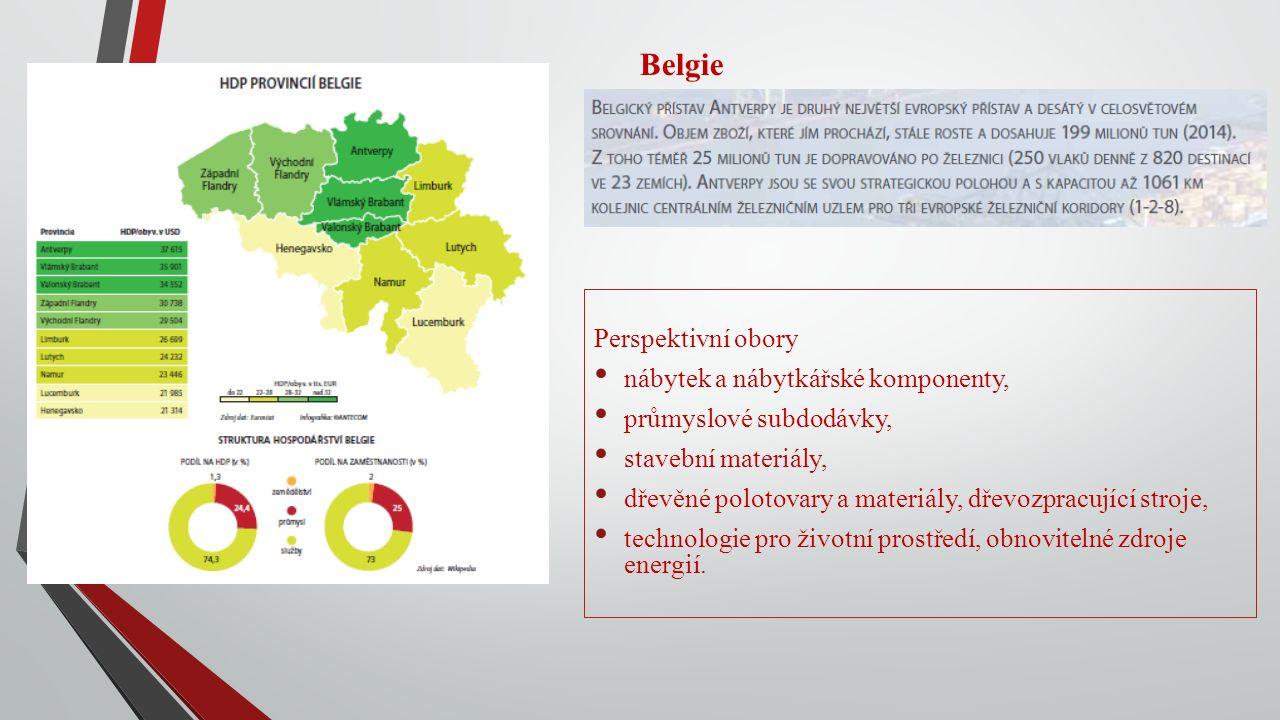 Belgie Perspektivní obory nábytek a nábytkářské komponenty, průmyslové subdodávky, stavební materiály, dřevěné polotovary a materiály, dřevozpracující stroje, technologie pro životní prostředí, obnovitelné zdroje energií.