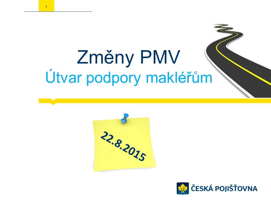 1 Změny PMV Útvar podpory makléřům 22.8.2015